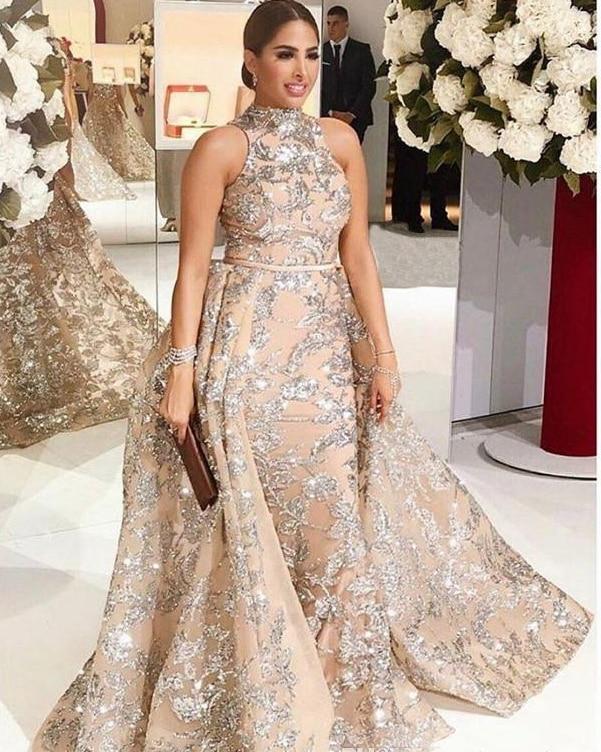 New Arrival Long   Evening     Dress   2019 High Neck Sleeveless Overskirt Beading Tulle Prom   Dresses   vestido de festa 2 Pieces
