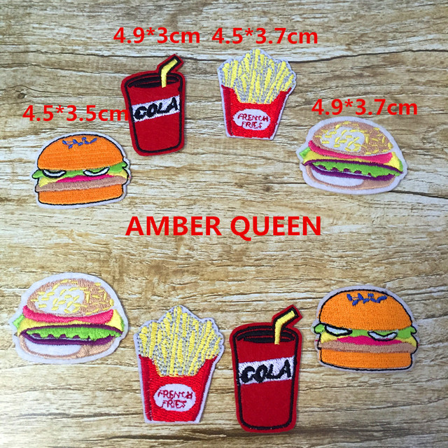 Hierro-en 8 piezas hamburguesa bordado Patch Motif Applique bordado dibujos animados Chips Cola parches DIY accesorio 16BT003