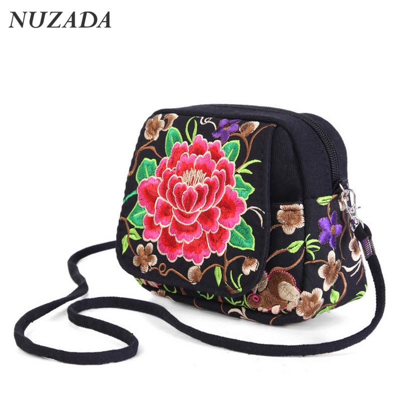 Brands NUZADA Shoulder Bags For Women Fashion Embroidery Canvas Retro Messenger