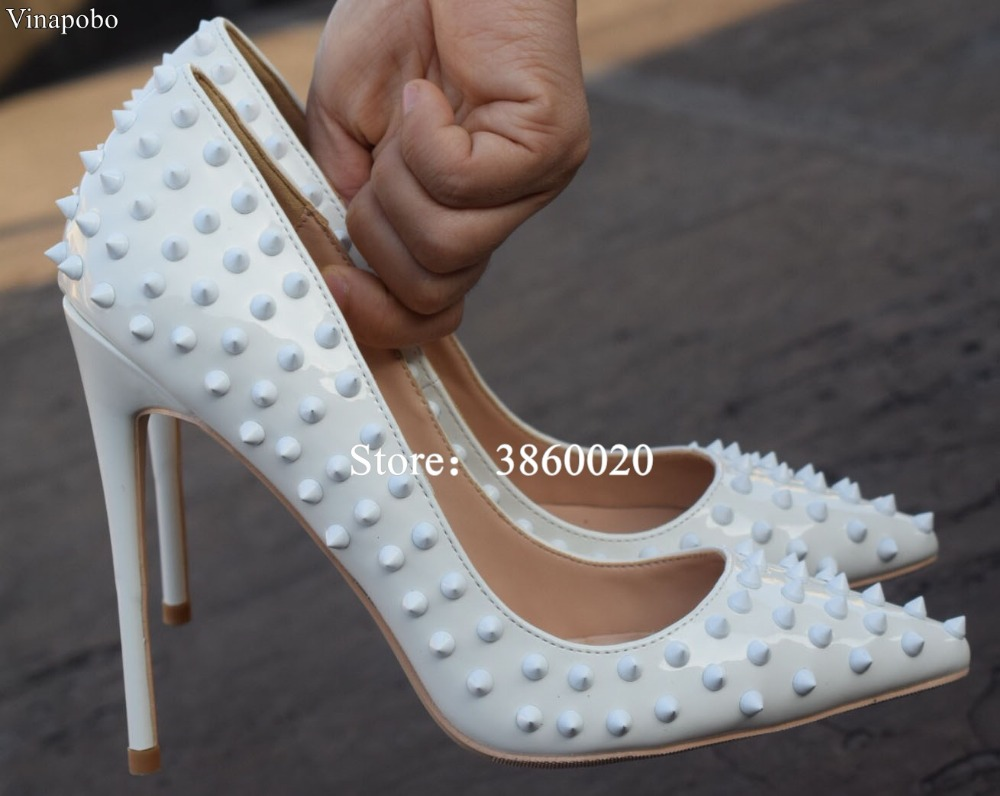 Vinapobo Rivets Pointed Toe High Heels Fashion Patent Leather Stiletto High Heel Pumps White Wedding Bridal
