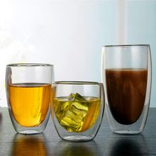 Double Transparent Glass Creative Coffee Cup Thickened Insulated Milk Cup Glass Cup With Bamboo Cover(China)