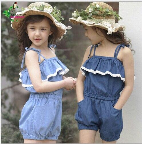 Девочки малыша комбинезон короткая лето Playsuit мягкий одежда один частей 2-8Y девочки лето комплект
