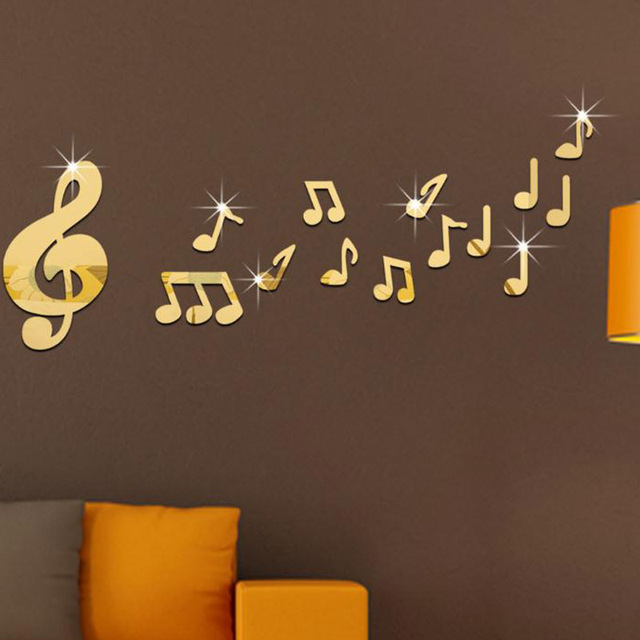 Music Room Dance Studio Musical Note Mirror Wall Stickers Baby For Kids Rooms Home Decor Diy Gold