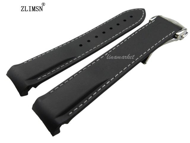 20mm (Fivela 18mm) Preto linha Branca Pulseiras de Relógio À Prova D' Água Mergulho Borracha de Silicone pulseiras Straps com Prata fivela