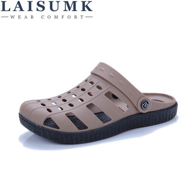 حذاء رجالي صيفي LAISUMK موديل 2020 صندل رجالي برقبة على الكاحل مناسب للشاطئ مصنوع من البلاستيك بتصميم مفرغ ونعال رجالية غير رسمية 1