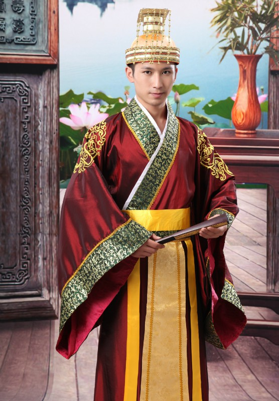 2 Colors Chinese Man Han Clothing Emperor Prince Show Cosplay Suit Robe Costume