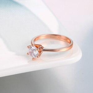 Кольцо R014 R776, классическое, простое, дизайнерское, сверкающее, с цирконием, розовое золото, 1 карат