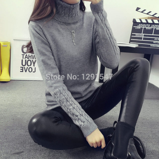 Hot 2016 Autumn Winter Women Sweaters and Pullovers Fashion turtleneck Sweater Women twisted thickening slim pullover sweater