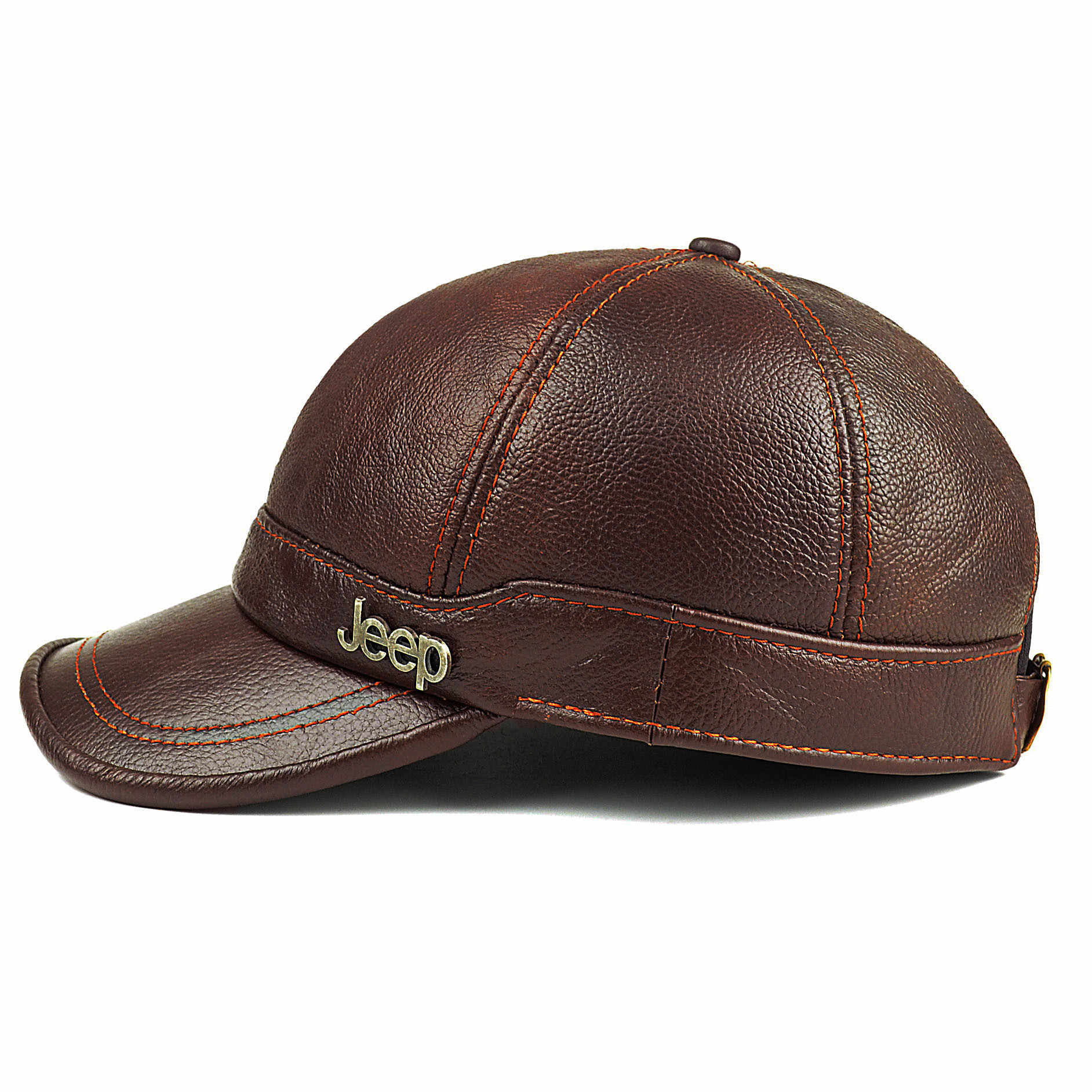 4d26494caa6 ... Adult New Genuine Leather Hat Men s Warm Genuine Leather Baseball Cap  Male Winter Outdoor Ear Protection ...