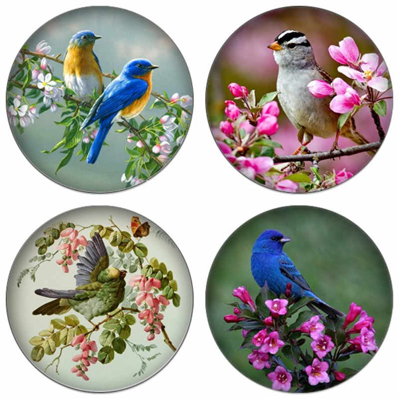 ZDYING Vintage Butterfly Birds And Flowers 12mm/16mm/18mm/20mm/25mm Round Photo Glass Cabochon Demo Flat Back Making Findings