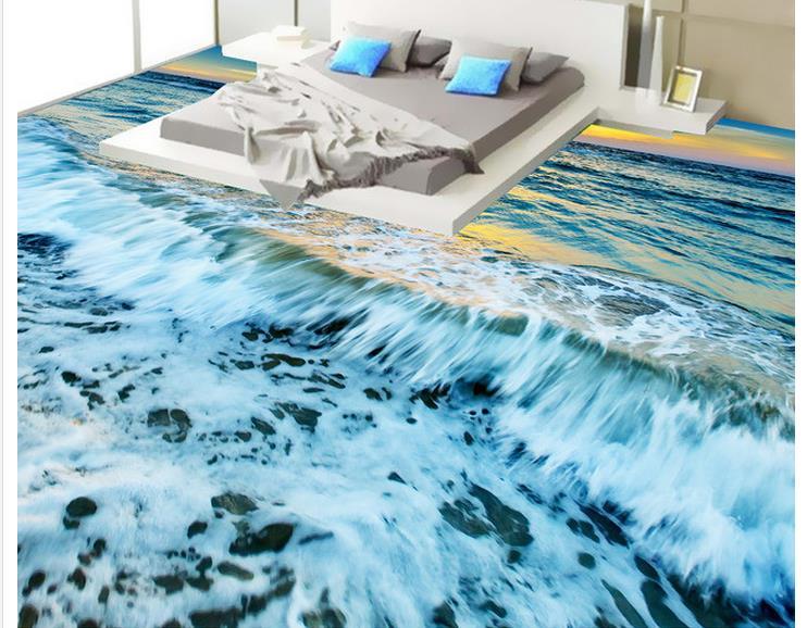 3d flooring wave sunset 3d floor waterproof wallpaper for - Waterproof floor paint for bathrooms ...