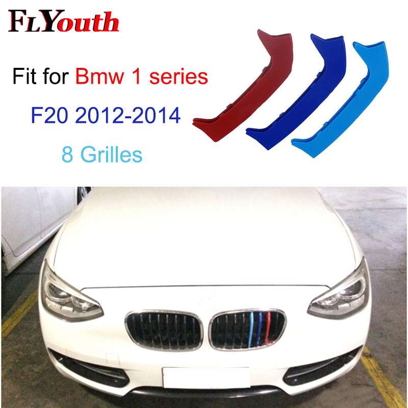 Us 9 02 32 Off For Bmw 1 Series 2012 2014 F20 F21 8 Grills Car Accessories Front Grille M Sport Stripes Grill Cover Cap Decoration Sticker In Car