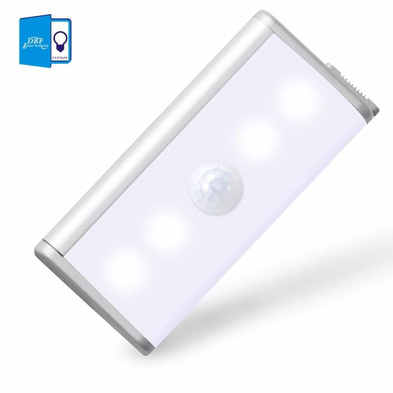 [DBF]4leds Rechargeable PIR Motion Sensor LED Night Light For Hallway Pathway Staircase Magnetic Wall Lighting led sensor light usb rechargeable touch sensor led cartoon birdcage night light
