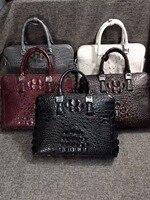 2018 недавно 100% натуральная кожа крокодила кожи головы мужчин бизнес ноутбук сумка портфель белый красный серый двойная молния мужчины сумка