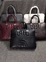 2018 newly 100% genuine crocodile leather head skin men business laptop bag briefcase white red grey double zipper men bag