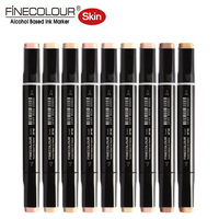 Finecolour Skin Tone Brush Markers 12pcs Set Dual Alcohol Calligraphy Pens As Copic Sketch Graphic