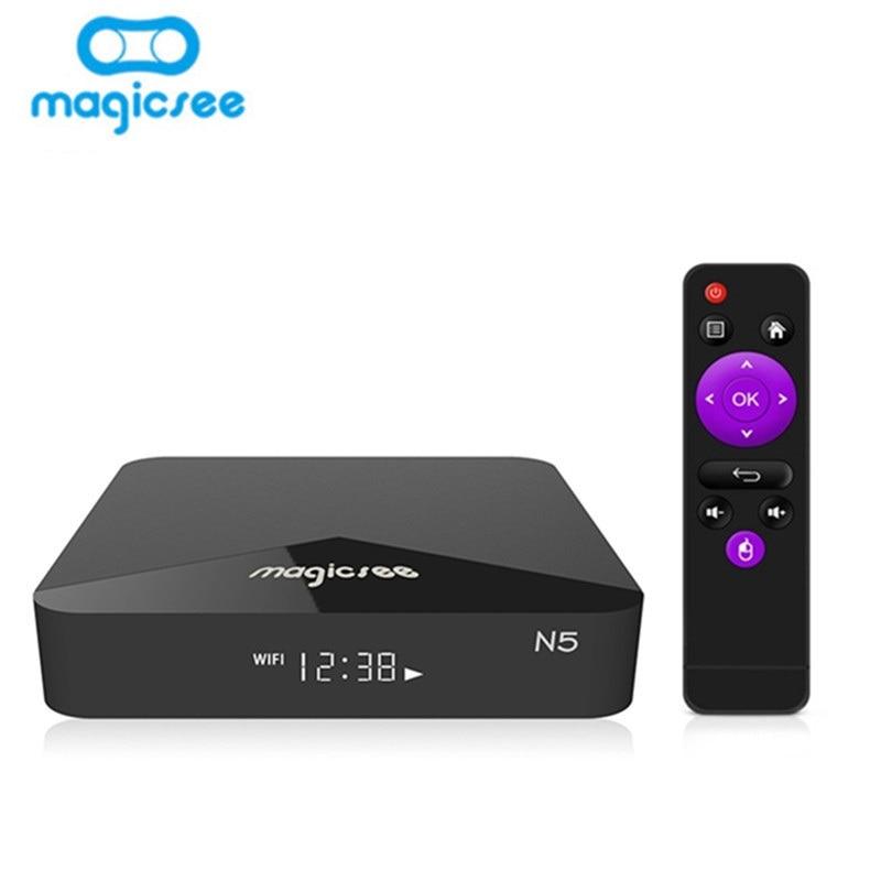 Magicsee N5 Android TV Box OSAmlogic S905X Android 7.1.2 TV Boîte 2 GB RAM 16 GB ROM 2.4G 5G 4 K WiFi Smart Set Top Box Media Player