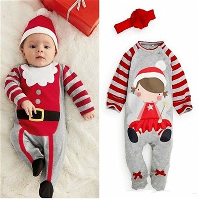 XMAS Baby Long Sleeve Romper Hot Toddler Baby Christmas Clothes Cute Hat Flower Headband Romper 2017 New Arrival Jumpsuit 0-24M ...