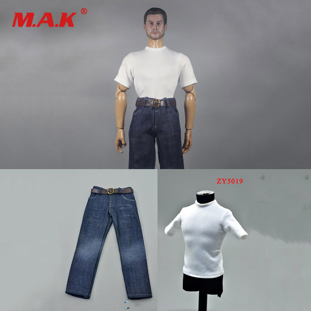 ZY5019 12 inch Male Figure Clothing 1:6 Man Clothes Action Figure Accessoies White Shirt & Jeans Pants Suit Soldier Clothes Set