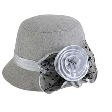 Модная Милая Элегантная Дамская льняная Цветочная винтажная Классическая Ретро шляпа-котелок для торжественных мероприятий в церкви, свадебная шляпа-федора, Женская Праздничная шапка