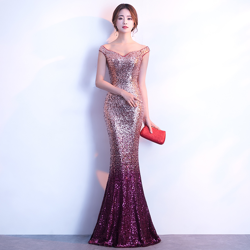 YIDINGZS   Evening     Dress   Long Sparkle New Women Elegant Sequin Mermaid Maxi   Evening   Party   Dress