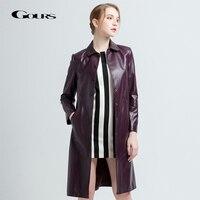 Gours Для женщин из натуральной кожи пальто Женская мода черные длинные пальто дамы ветровка овчины куртка Новое поступление 68059