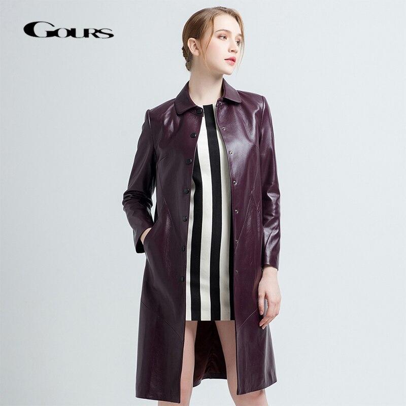 Gours Women's Genuine Leather Coats Female Fashion Black Long Overcoat Ladies Windbreaker Sheepskin Jacket New Arrival 68059