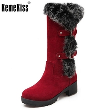 Mature Warm Fur Round Toe Slip On Med Square Heel Platform Mid Calf Snow Boots Buckle Women Girl Fashion Shoes Size 34-43