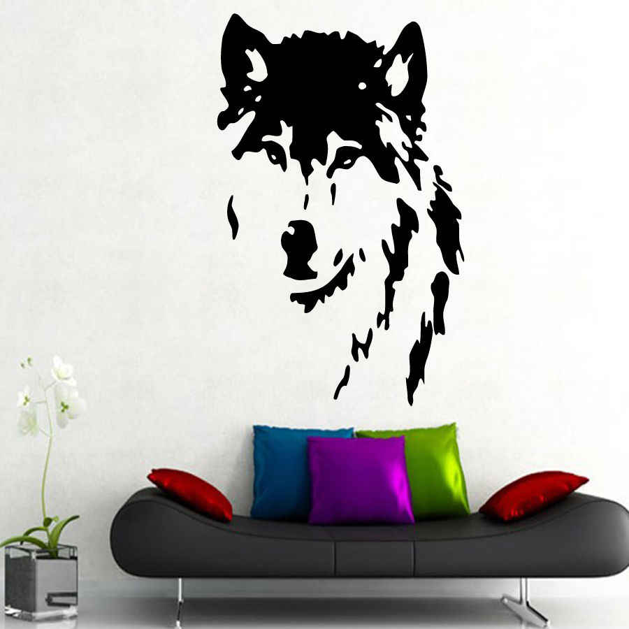 QT024 Wolf Wall Decals home decor Removable Vinyl  wall art stickers pet shop decor animal mural home decoration accessorie