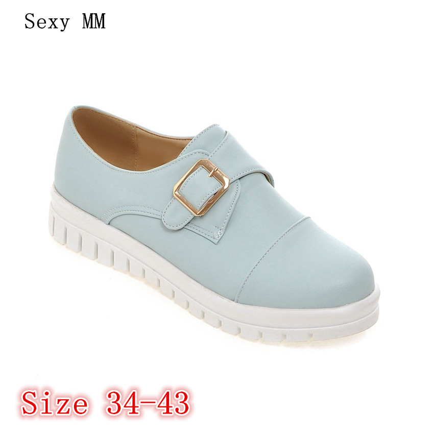 Slip On Women Oxfords Platform Shoes Loafers Flats Woman Casual Flat Platform Shoes High Quality Plus Size 34-40.41.42.43 akexiya casual women loafers platform breathable slip on flats shoes woman floral lace ladies flat canvas shoes size plus 35 43