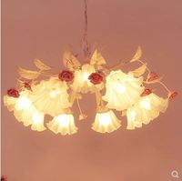 Idyllic rose flower girl Nordic living room dining room lamp children's room girl bedroom wedding room powder chandelier