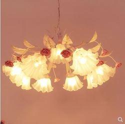 Idylliczny kwiat róży  dziewczyna Nordic salon lampa do jadalni pokój dziecięcy dziewczyna sypialnia sala weselna żyrandol w proszku