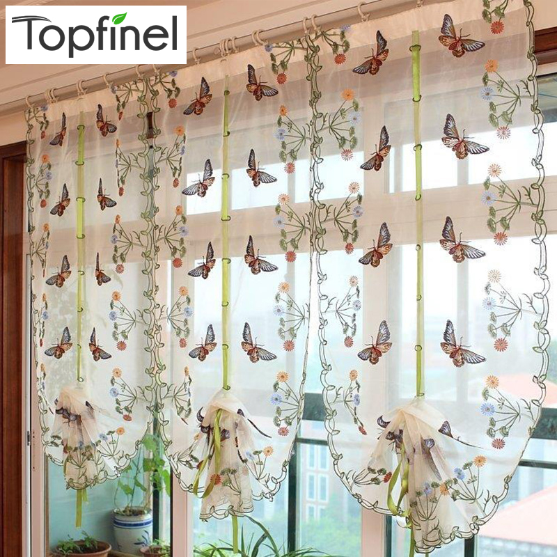 2016 Butterfly Kitchen Curtains Tulle For Windows Sheer Living Room Bedroom Window Embroidered Roman