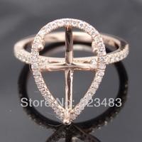 Pear Cut 8x13mm 14kt Rose Gold Natural Diamond Wedding Semi Mount Unique Ring Settings