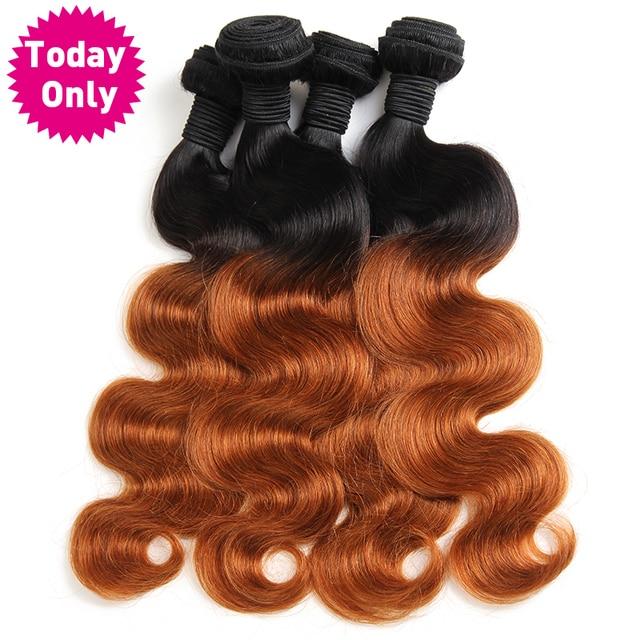 [TODAY ONLY] Ombre Brazilian Hair Body Wave Bundles 1b 30 Two Tone Human Hair Weave Bundles Non Remy Hair Can Buy 3 or 4 Pcs