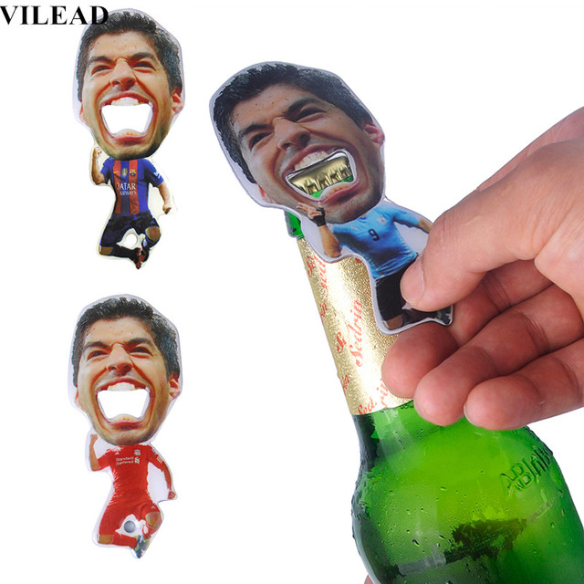 3 Color Luis Suarez Portable Football Team Beer Bottle Opener Zinc Alloy Glass Bottle Cap Opener Bar Kitchen Tool Boyfriend Gift