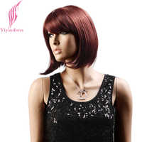 Yiyaobess Synthetic Straight Auburn Short Bob Wig With Bangs Natural Hair Brown Black Wigs For Women Japanese Fiber