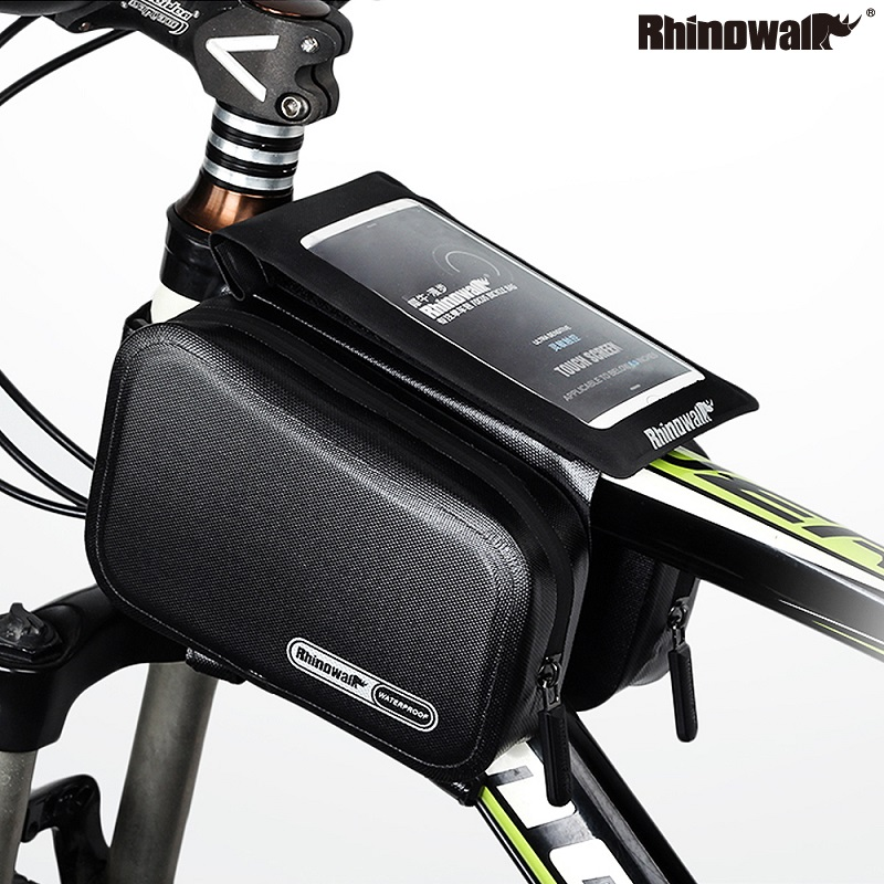 Rhinowalk Bicycle Frame Tube Bag Cycling Double Pouch Road Bike Top Tube Pannier MTB Full Waterproof 6 Inches Cellphone Bag Pack