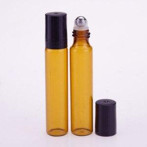 Image 3 - 50 Stks/partij 10Ml Roll Op Draagbare Amber Glazen Navulbare Parfumfles Lege Etherische Olie Case Met Plastic Cap