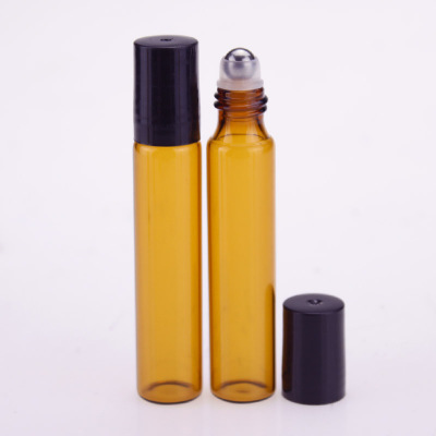 Image 3 - 50pcs/lot 10ml Roll On Portable Amber Glass Refillable Perfume Bottle Empty Essential Oil Case With Plastic Cap-in Refillable Bottles from Beauty & Health