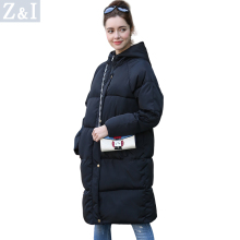 Parkas Women Long design full sleeve warm coat with a hood womens black and gray winter Casual coat jacket z928