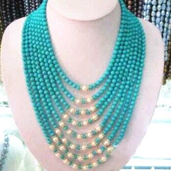 daac6052a85d Collar de cadena larga de moda para mujer de 4mm calaite turquesas cuentas  redondas de piedra elegante joyería de 50 pulgadas B3190