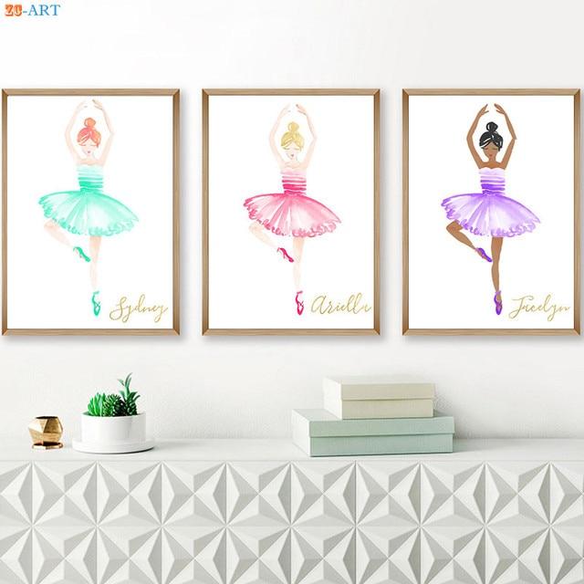Cartoon Canvas Painting Ballerina Ballet Poster and Print Wall Art ...