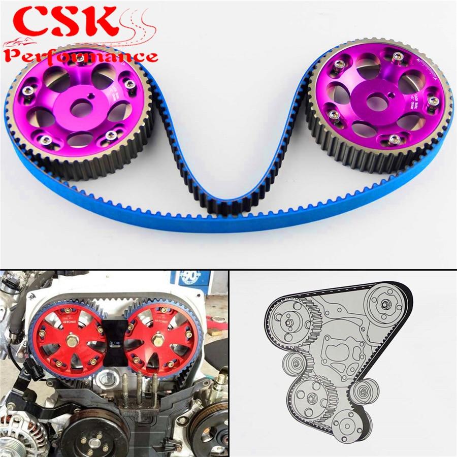 Racing Timing Belt + Cam Gear Pulley Kit Fits For Toyota 1JZ 1JZGTE 1JZ-GTE 88-92 Purple/Blue/Red