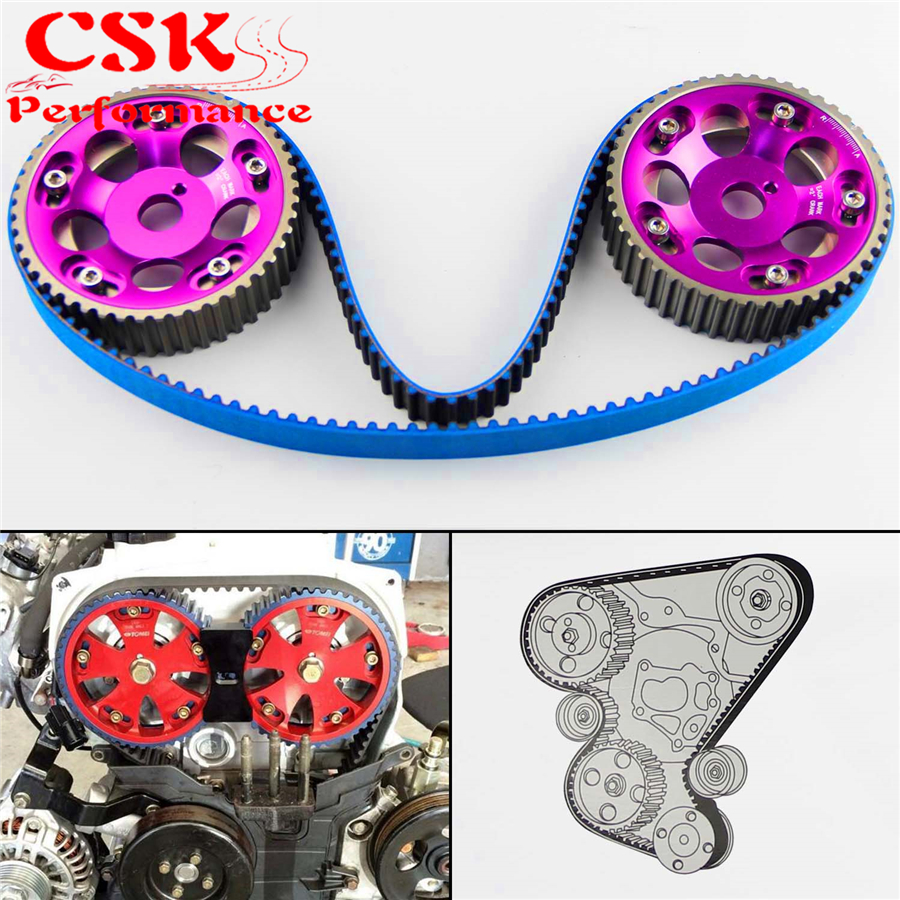 Racing Timing Belt + Cam Gear Pulley Kit Fits For Toyota 1JZ 1JZGTE 1JZ-GTE 88-92 Purple/Blue/Red pqy racing hnbr racing timing belt blue aluminum cam gear red for toyota 1jz 1jzgte 1jz gte pqy tb1005b 6531r