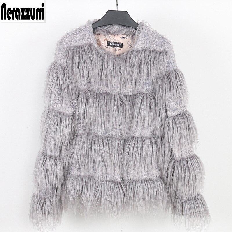 Nerazzurri winter faux fur coat 2019 autumn women fashion long sleeve striped hairy gray fake fur