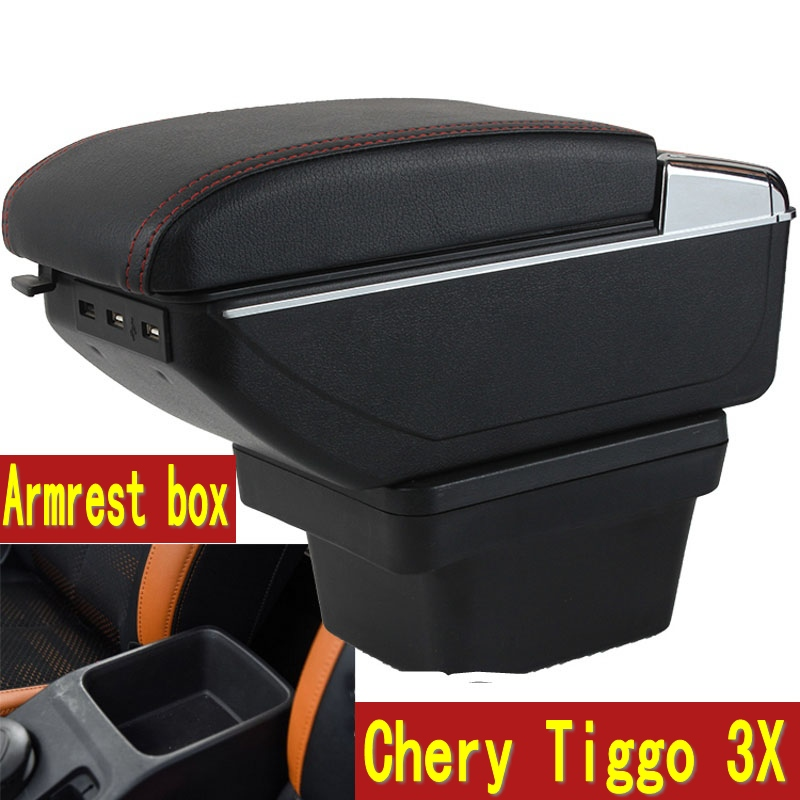For Chery Tiggo 3X armrest box central Store content box with cup holder ashtray decoration With USB interface