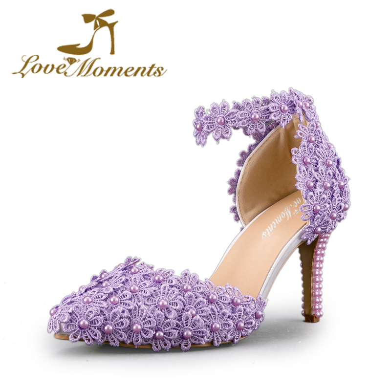 Wedding shoes bride High Heels Women Pumps Pointed Toe buckle strap  purple red white ivory lace flower Sandals Party Dress shoes d0380941a208