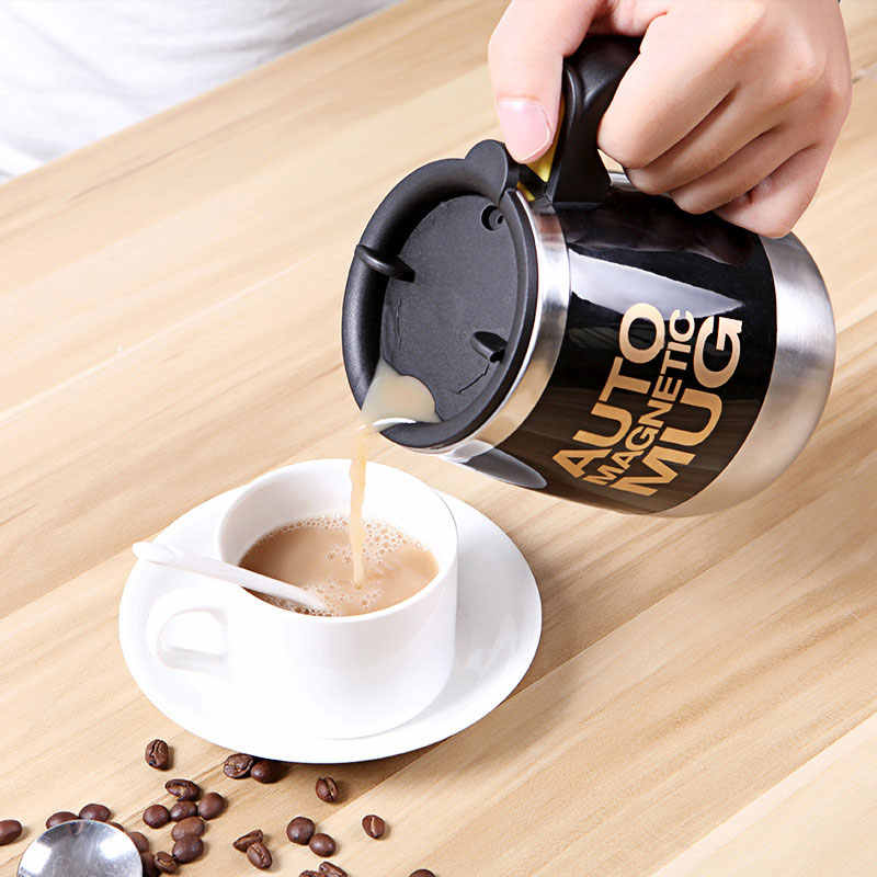 Tazas coffee mug Stainless Steel Magnetic Self Stirring Automatic Cover Milk Mixing Mugs Electric Lazy Smart shaker Coffee Cup