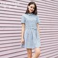 Veri Gude Women Short Sleeve Plaid Dress Mini Style for Summer String at Waist
